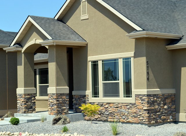 Image gallery stucco siding for How to install stone veneer over stucco
