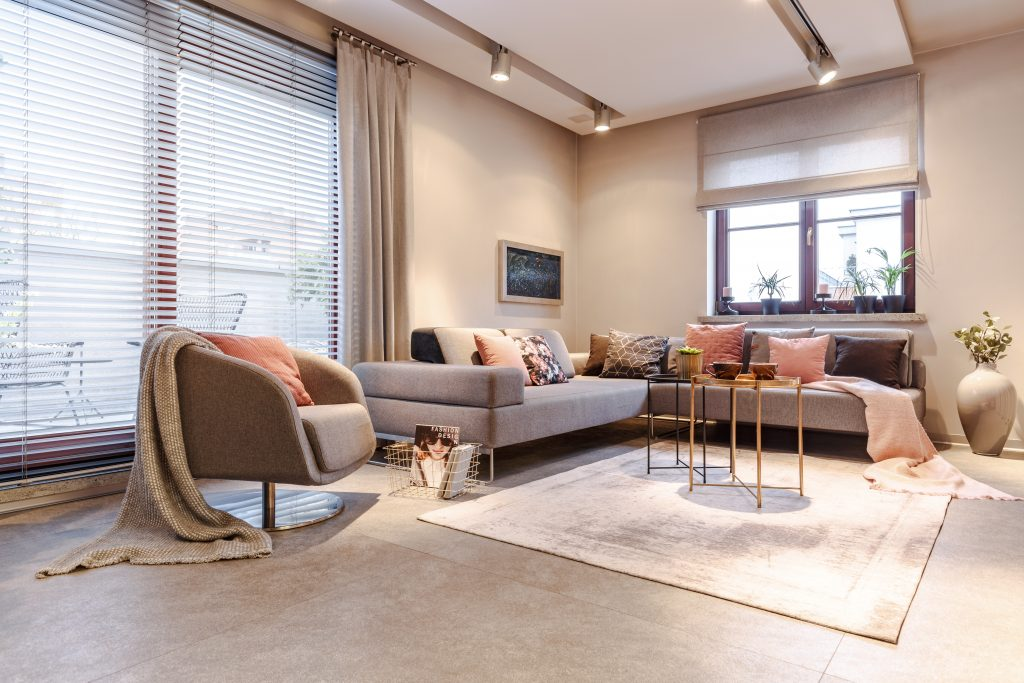 Spacious grey apartment interior