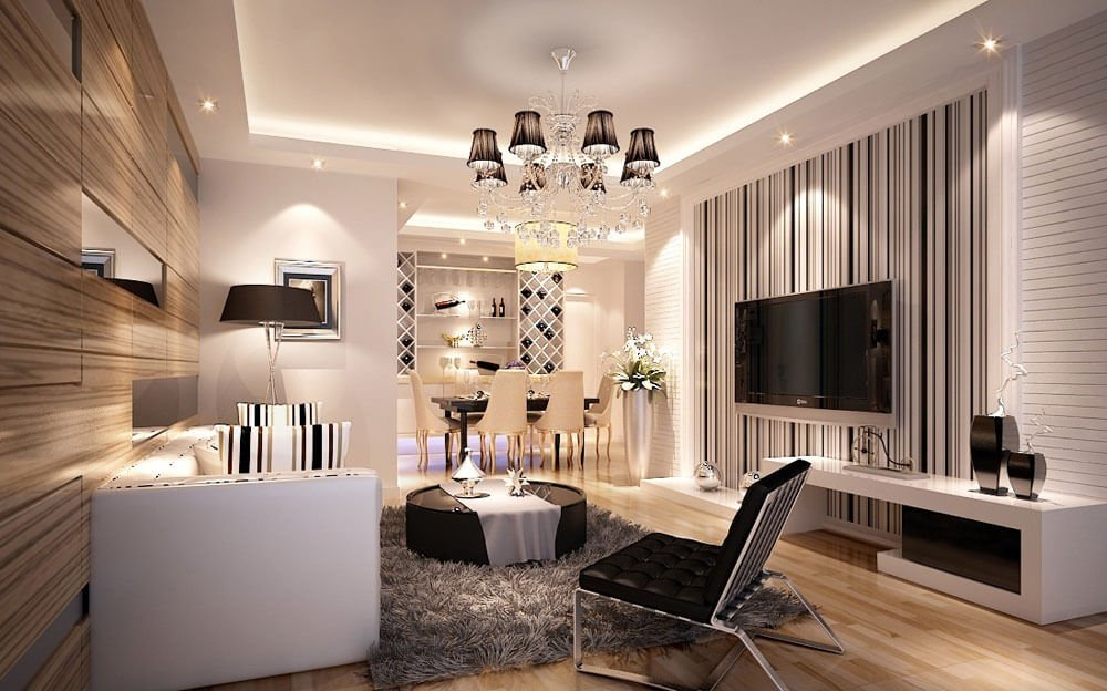 striped walls living room