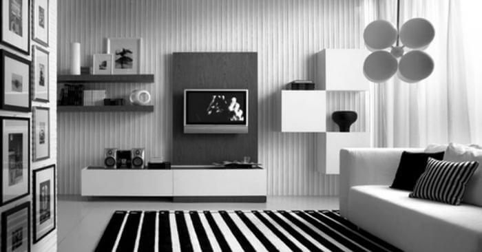 Monochrome Walls with Embossed Stripes