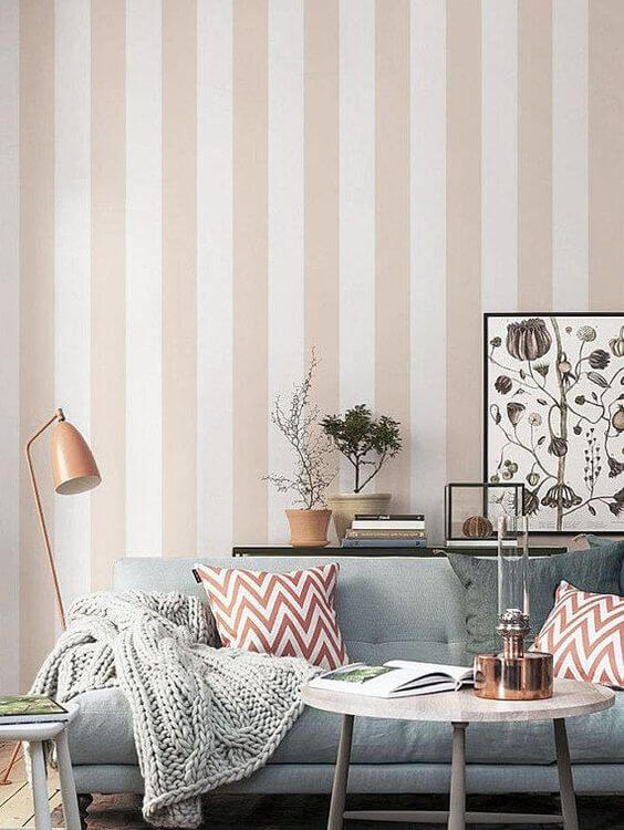 striped walls living room in soft peach
